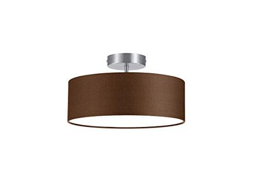 Trio-Leuchten-Deckenleuchte-nickel-matt-Stoffschirm-braun-603900214