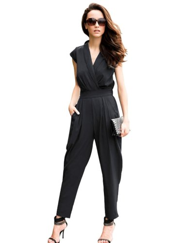 68c42660d4 ASOS Strapless Bandeau Black Jumpsuit Romper. Women V Neck Cap Sleeves  Tunics Jumpsuit Rompers Polyester Long Pants