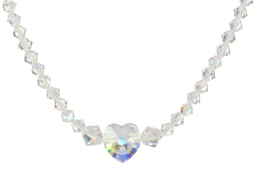Sterling Silver Crystal and Crystal Aurora Borealis Swarovski Elements Bicone and Faceted Heart Bead Necklace, 16