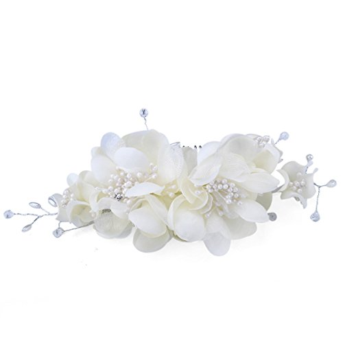 FUMUD Bridal Hair Flower Side Comb Barrette Headpiece Wedding Accessory