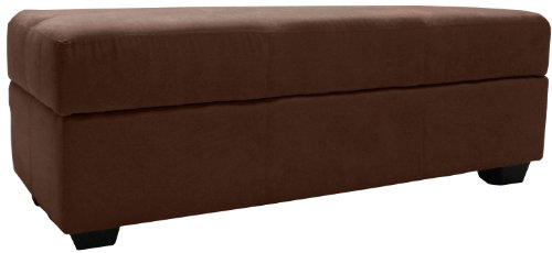 Epic Furnishings Microfiber Suede Upholstered Tufted Padded Hinged Storage Ottoman Bench, 48 by 19 by 18-inch, Chocolate Brown