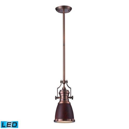 Chadwick 1 Light Pendant In Dark Walnut And Antique Copper - Led Offering Up To 800 Lumens (60 Watt Equivalent) With Full Range Dimming. Includes An Easily Replaceable Led Bulb (120V).