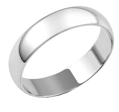 Silver 5mm D Section Wedding Band Ring