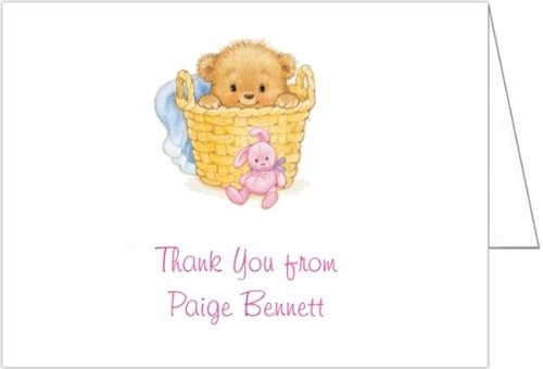 Basket Of Love Pink Baby Shower Thank You Cards - Set Of 20 front-1036539