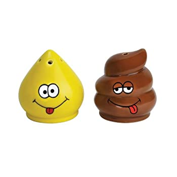 Our Tinkle and Turd Salt and Pepper Shakers are one way to be sure your guest never complain that your food needs more seasoning.  Hilarious gag gift for your next housewarming party.  Ceramic, approximately 2.25