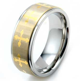 8MM High Polished Gold Plated Stainless Steel Ring with Ten Gold Plated Crosses around Band
