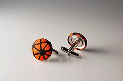 Cufflinks, Fabric button cufflinks, wedding cufflinks, groom cufflinks, African fabric cufflinks, Ankara cufflinks, Orange and black cufflinks