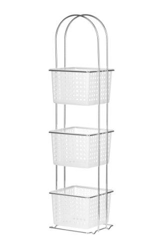 Korbregal 3 Etagen, Kunststoffkörbe/ Chromrahmen, 20 x 19 x 85,5 cm, weiß