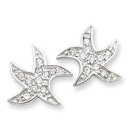 Sterling Silver CZ Starfish Earrings