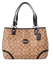 Coach Heritage Signature Coated Shopper Tote Bag 18923 Khaki Brown