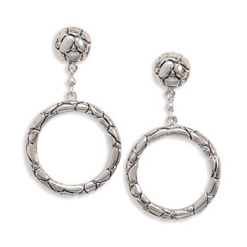 Rhodium Plated Oxidized Cobblestone Ball Post with Open Circle Drop Earrings