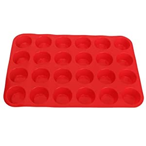 Hanperal Mini Muffin Pan- 24 Cups Premium Perfect Portion Control Baking Pans- Non Stick Food Grade Siicone Mold Versatile Heat Resistant Bakeware - Dishwasher, Oven & Freezer Safe- Red