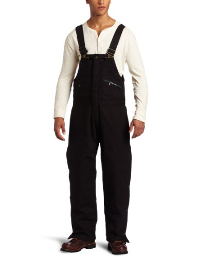 Key Apparel Men's Big-Tall Insulated Waist Zip Duck Bib Overall, Black,