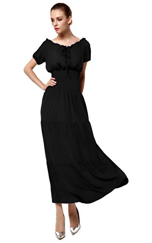 Meaneor Women Cap Sleeve Boho Gypsy Renaissance Peasant Mid Length Dress