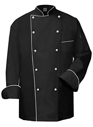 Amazon Com Newchef Fashion Vip Black Chef Coat White Trim