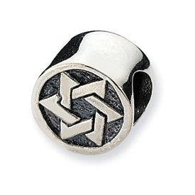 Sterling Silver Reflection Beads Collection Star of David Bead Charm 4mm Hole (fits 3mm European Style Charm Bracelets)