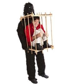 "HouseHaunters ""Get Me Outta This Cage"" Gorilla and Cage Costume Kit, Black/Bamboo, One Size"