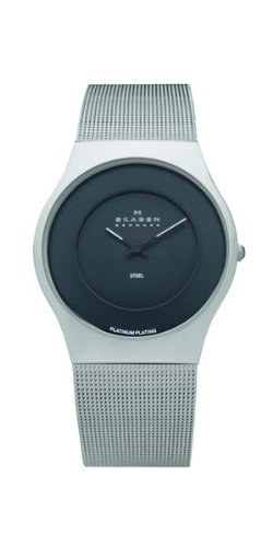 Skagen Mens Watch 233XLSBPL with Black Dial and a Stainless Steel Mesh Bracelet