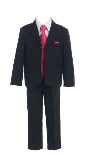 Toddlers Oxford 5 Piece Black Suit with Colorful Vest in 7 Colors Boys Formal Wear Color: Black Suit - Fuchsia Vest Boys Formal Wear Size: Large  Best Offer