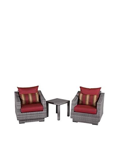 RST Brands Cannes Club Chairs & Side Table Set, Red