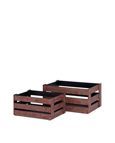 Set of 2 Wood Crates