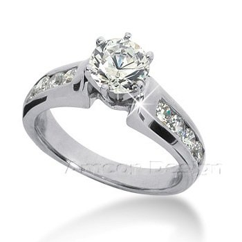 14K White Gold Round Cut Diamond Promise Engagement Ring (0.90ct.tw, HI Color, SI23 Clarity)