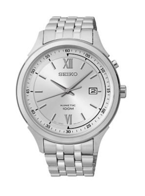Seiko Kinetic Silver Dial Stainless Steel Mens Watch Ska653