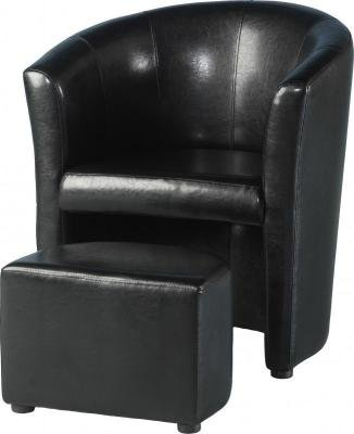 Tempo Tub Chair with Footstool in Black PU