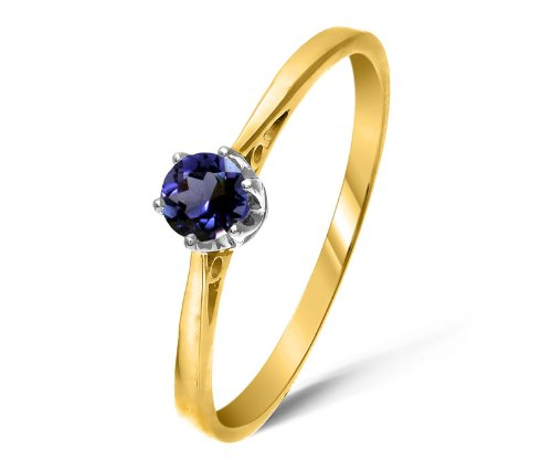 Modern 9 ct Gold Ladies Solitaire Engagement Ring with Iolite 0.25 Carat Size J