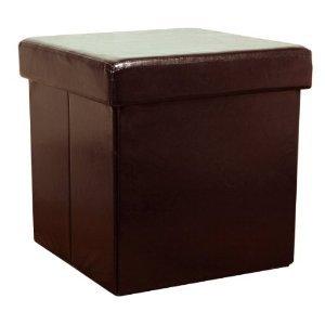 Apolo Folding Faux Leather Storage Ottoman/Brown-OT11BR