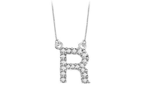 Petite Baby Charm Cubic Zirconia R Initial Pendant .925 Sterling Silver - 0.25 Ct Tgw