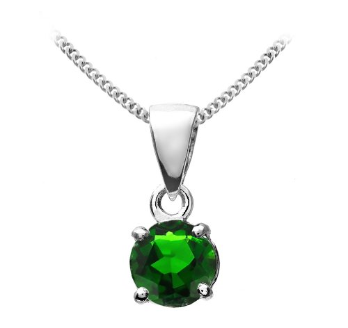Stunning 9 ct White Gold Ladies Solitaire Pendant + Chain with Chrome Diopside 0.60 Carat - 9mm*5mm