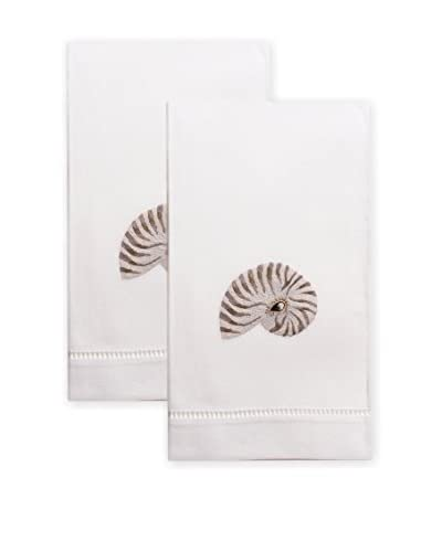 Henry Handwork Set of 2 Grey Nautilus Shell Embroidered Hand Towels, White