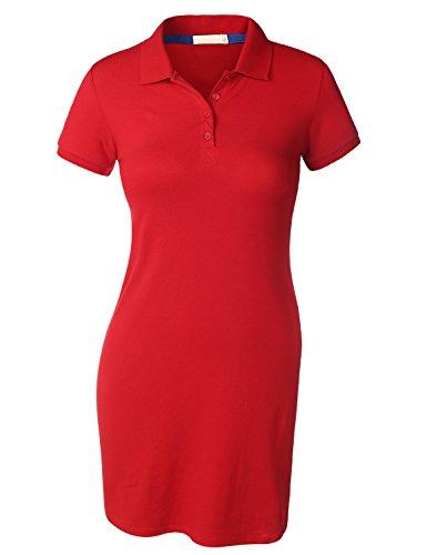 BIADANI Women Short Sleeve Classic Strech Collar Polo Dress Red Medium