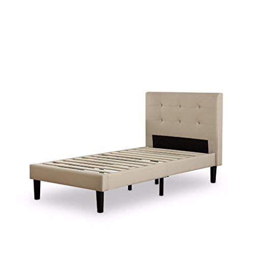 Sale!! Zinus Upholstered Button Tufted Platform Bed with Wooden Slats, Twin