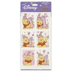 Winnie the Pooh Girl's 1st Birthday Stickers (4 sheets) - 1