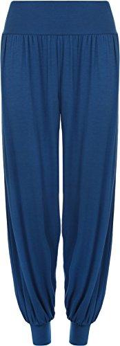 Ladies plus size Harem pantaloni da donna lunghezza piena elasticizzato pantaloni Casual Formati 12-26 Royal Blue 52 A 54