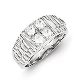 Genuine IceCarats Designer Jewelry Gift Sterling Silver Men's Cz Ring Size 11.00