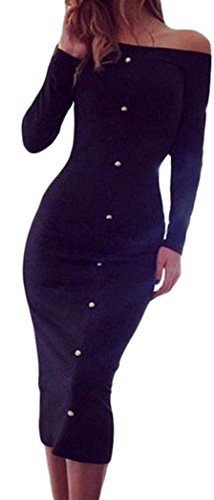 FQHOME Womens Black Long Sleeve Off Shoulder Buttons Boat Neck Midi Dress