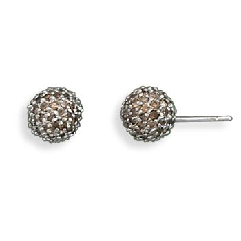 Rhodium Plated Chocolate CZ Stud Earrings