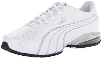 PUMA Men's Cell Surin Cross-Training Shoe,White/White/PUMA Silver,9.5 M US