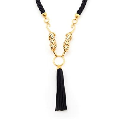 Double Leopard Tassle Necklace by Bill Skinner