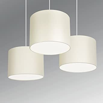 Set of 3 - Modern Cream Drum Pendant Ceiling Light Shades with Diffusers