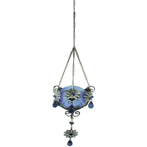 Garden Meadow R1371B Solar Hanging Jewel Yard Art With Blue Light, 12-Inch