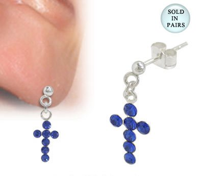 Cross Ear Studs Sterling Silver with Blue Jewels