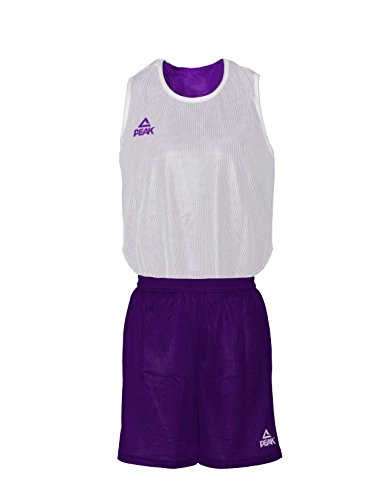 Peak Sport Europe Basket Set Set Reversible Maglietta reversibile Iowa, Unisex, Basketball Wendeset Reversible Trikot Set IOWA, Viola/bianco, M