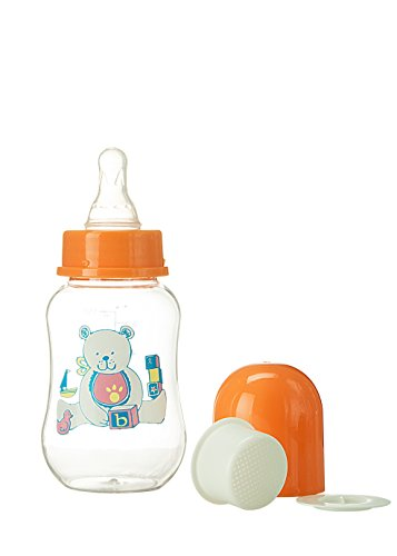 Abstract 6 Oz. Baby Feeding Bottle With Cover And Strainer (Orange)