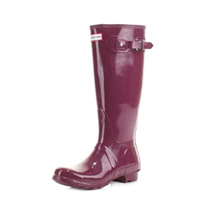Hunter Original Tall Gloss Dark Ruby Wellies SIZE 6
