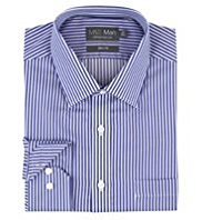2in Longer Performance Pure Cotton Non-Iron Slim Fit Striped Shirt