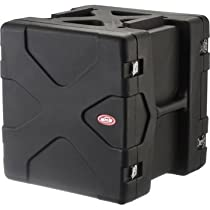 SKB 1SKB-R12 12U 12-Rack Space Ultimate Strength Black Molded Roto Rack Case Interlocking X Pattern For Solid Stackability And Shock Absorbing Feet